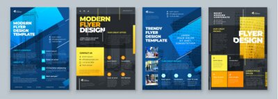 Fototapete Flyer Design Set. Dark Blue an Yellow Modern Flyer Background Design. Template Layout for Flyer. Concept with Dynamic Line Shapes. Vector Background.