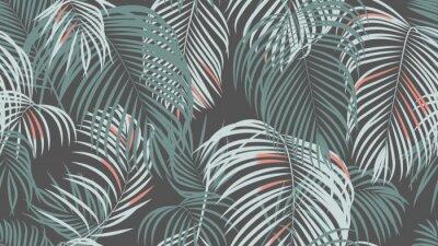 Fototapete Foliage seamless pattern, simple palm leaves on dark grey