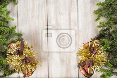 Fototapete Fondo De Navidad Con Decoración De Abeto Y Espacio Para Texto