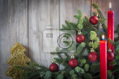Fototapete Fondo De Navidad Con Decoración De Bolas Velas Y árbol Abeto