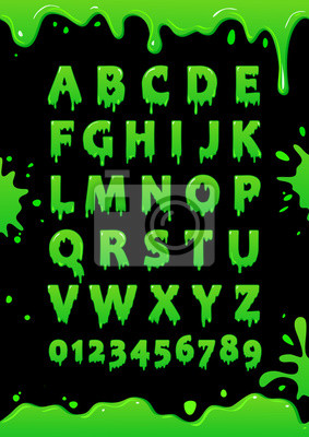 Font Of Green Slime Blot Alphabet Letters And Numbers With