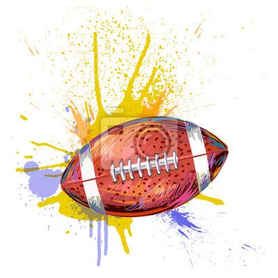 Football Erstellt durch Berufskünstler. Diese Darstellung wird von Wacom-Tablett mit Hilfe Grunge Texturen und Bürsten in malerischen Stil kreiert.