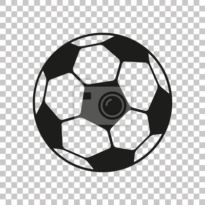 Fototapete Football icon in flat style. Vector Soccer ball on transparent background . Sport object for you design projects