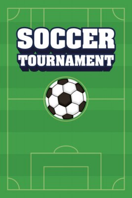 football soccer sport poster with camp and balloon