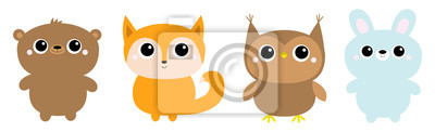 Forest animal toy icon line set. Bear hare rabbit fox owl. Cute kawaii cartoon funny baby character. Kids education cards. Flat design. White background. Isolated.