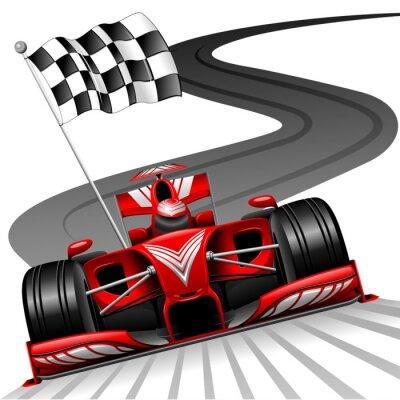 Fototapete Formel 1 Red Car auf Rennstrecke