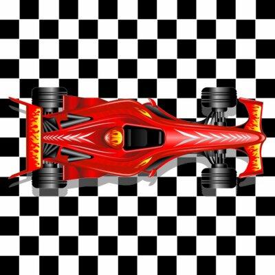 Fototapete Formel 1 Red Race Car auf karierten Hintergrund