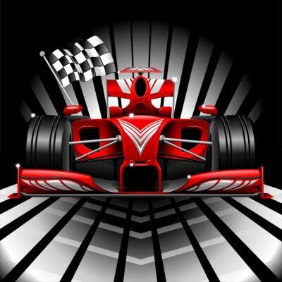 Fototapete Formel 1 Red Race Car und Zielflagge