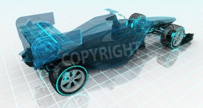 Fototapete Formel Auto Technologie Drahtgitter Skizze oberen Rückansicht Motorsport Produkt Hintergrund Design meiner eigenen