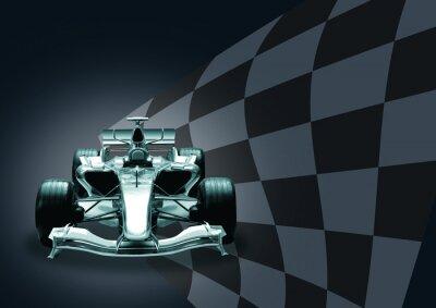 Fototapete formula 1 car and flag