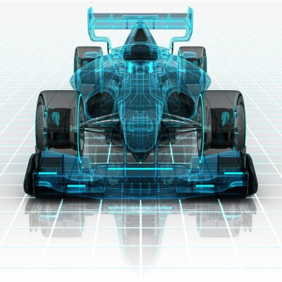 Fototapete formula car technology wireframe sketch front view