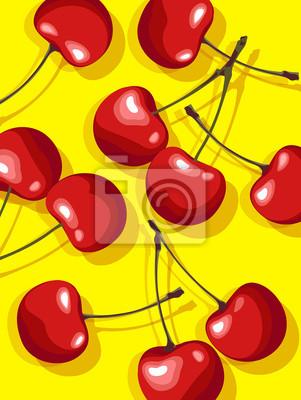 Foto von roten Kirschen auf gelbem Hintergrund verstreut