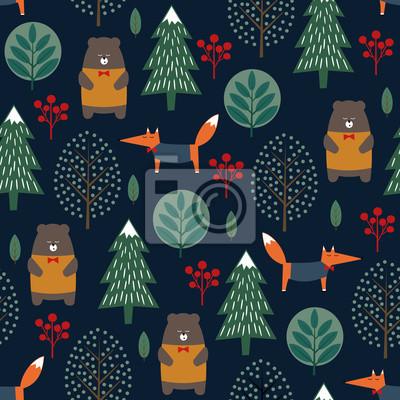 Fototapete Fox, Bär, Bäume und Beeren nahtlose Muster auf dunkelblauem Hintergrund. Weihnachten skandinavischen Stil Natur Illustration. Winterwald mit Tieren und Weihnachtsbaum Design für Textil-, Tapeten, Stof