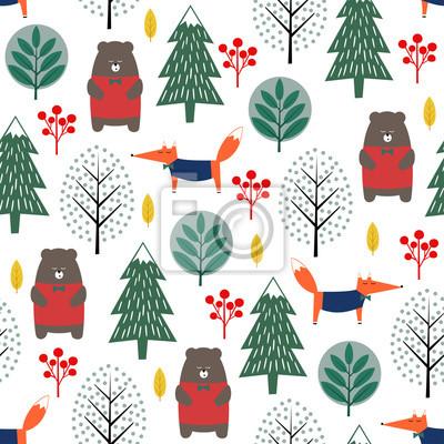 Fototapete Fox, Bär, Bäume und Beeren nahtlose Muster auf weißem Hintergrund. Weihnachten skandinavischen Stil Natur Illustration. Winterwald mit Tieren Design für Textilien, Tapeten, Stoffe.