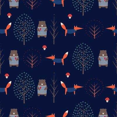 Fototapete Fox, Bär, Bäume und Pilz nahtlose Muster auf dunkelblauem Hintergrund. Nette skandinavische Art-Naturabbildung. Herbst Wald mit Tieren Design für Textilien, Tapeten, Stoff.