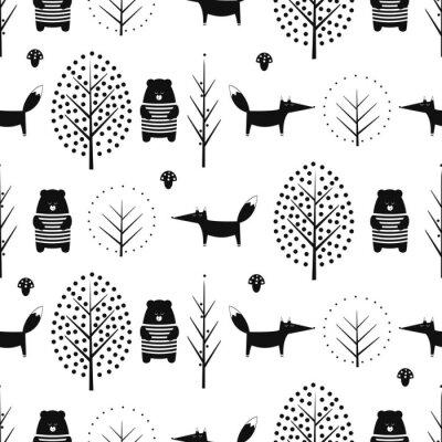 Fototapete Fox, Bär, Bäume und Pilz nahtlose Muster auf weißem Hintergrund. Schwarz-Weiß-skandinavischen Stil Natur Illustration. Netter Wald mit Tierenentwurf für Gewebe, Tapete, Gewebe.