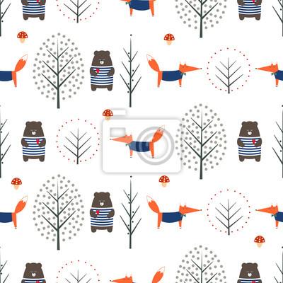 Fototapete Fox, Bär, Herbst Bäume und Pilz nahtlose Muster auf weißem Hintergrund. Nette skandinavische Art-Naturabbildung. Herbst Wald mit Tieren Design für Textilien, Tapeten, Stoff.