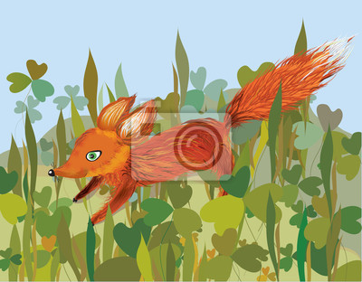 Fox im Gras lustigen Comic