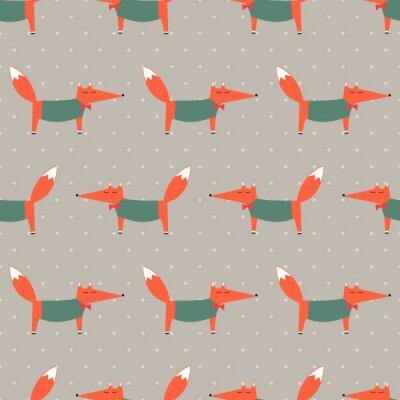 Fototapete Fox nahtlose Muster auf Polka Dot Hintergrund. Cartoon foxy vektorabbildung. Kind Zeichnung Stil Tier Hintergrund. Art und Weiseentwurf für Gewebe, Gewebe, Dekor, Tapete.