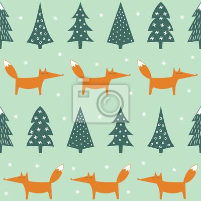 Fototapete Fox, Weihnachtsbäume und Schneeflocken nahtlose Muster. Netter Waldhintergrund. Einfache Vektor Winterurlaub Design für Textil-, Tapeten, Geschenkpapier, Stoff, Dekor.