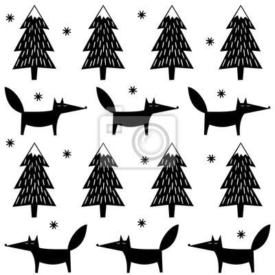 Fototapete Fox, Weihnachtsbäume und Schneeflocken nahtlose Muster. Schwarz und weiß niedlichen Wald Hintergrund. Einfache Vektor Winterurlaub Design für Textil-, Tapeten, Geschenkpapier, Stoff, Dekor.