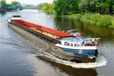 Fototapete Frachtschiff auf der Weser bei Nienburg