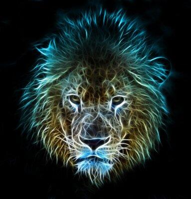Fototapete Fractal digitale Fantasiekunst von einem Löwen auf einem isolierten Hintergrund
