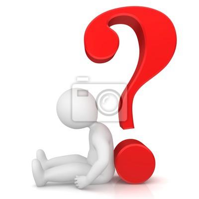 Fragezeichen-abfrage punkt interpunktion zeichen rot 3d mit traurig ...