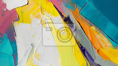 Fototapete Fragment. Multicolored texture painting. Abstract art background. oil on canvas. Rough brushstrokes of paint. Closeup of a painting by oil and palette knife. Highly-textured, high quality details.