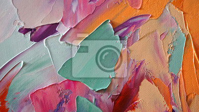 Fototapete Fragment of multicolored texture painting. Abstract art background. oil on canvas. Rough brushstrokes of paint. Closeup of a painting by oil and palette knife. Highly-textured, high quality details.