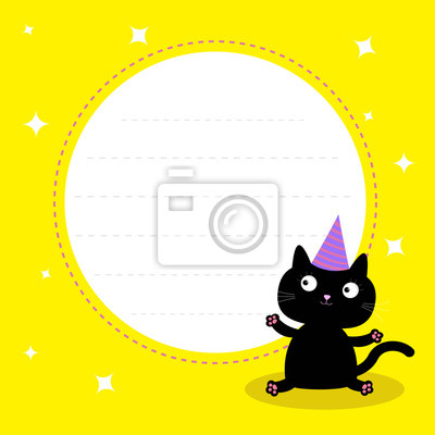 Fototapete Frame With Cute Cartoon Black Cat Hat Happy Birthday Party