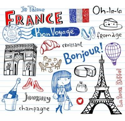 Fototapete France Symbole als flippige Gekritzel