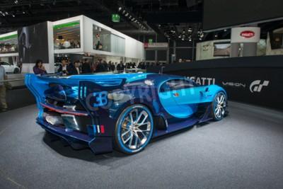 Fototapete FRANKFURT, DEUTSCHLAND - 16. SEPTEMBER 2015: Internationale Automobilmesse Frankfurt (IAA) 2015. Bugatti Vision Gran Turismo - Weltpremiere.