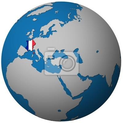 Globus Karte.Fototapete Frankreich Flagge Auf Globus Karte