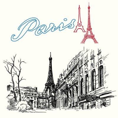 Fototapete Frankreich, Paris - Eiffelturm - Hand gezeichnet Set