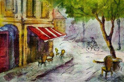 Fototapete Französisch Außen european cafe Malerei, Grafik, Zeichnung, Farbe