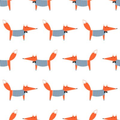 Fototapete Französisch Stil Fuchs nahtlose Muster. Nette Karikatur foxy vektorabbildung. Kind Zeichnung Stil Tier Hintergrund. Art und Weiseentwurf für Gewebe, Gewebe.