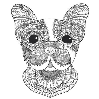 Französische bulldogge welpen zentangle stilisiert für malbuch ...