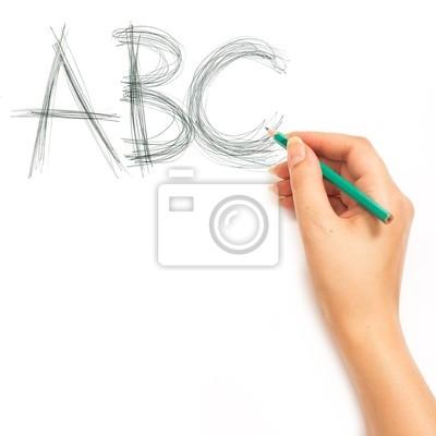 Frau an der Hand mit einem Bleistift und schreibe ABC Alphabet