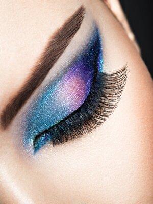Fototapete Frau Auge mit blauen Augen Make-up