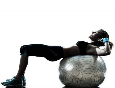 Fototapete Frau Ausübung Fitness-Ball trainieren