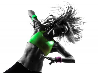 Fototapete Frau Ausübung Fitness Zumba Tanz Silhouette