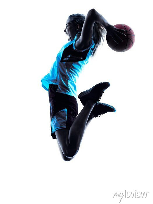 Fototapete Frau Basketball-Spieler-Silhouette
