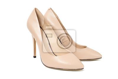 ee0b3ba084a389 Fototapete Frau beige Mode Schuh High Heels auf weißem Hintergrund isoliert