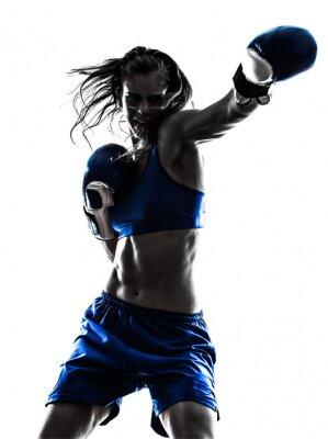 Fototapete Frau boxer Kickbox-Silhouette