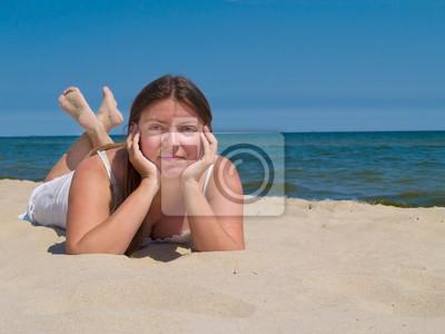 Fototapete Frau entspannt Meer