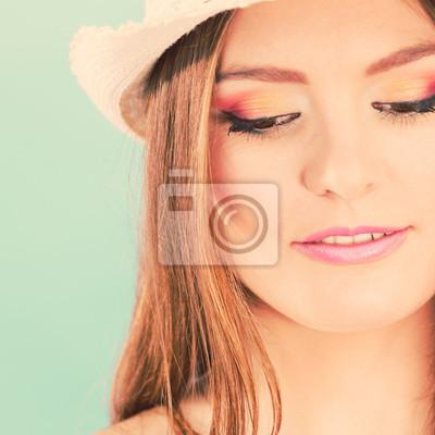Fototapete Frau Gesicht Bunte Augen Make Up, Sommer Strohhut