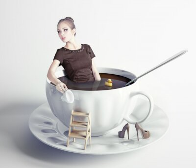 Fototapete Frau in der Tasse Kaffee