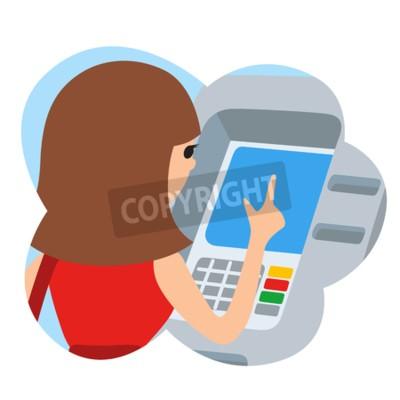 Frau mit Geldautomaten. Vektor-Illustration icone in Wolke isoliert weißen Hintergrund.