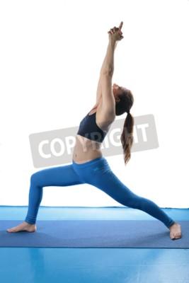 Frau Uben Yoga Auf Dem Boden Auf Einer Blauen Matte Und Weissem